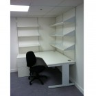height settable desking in white