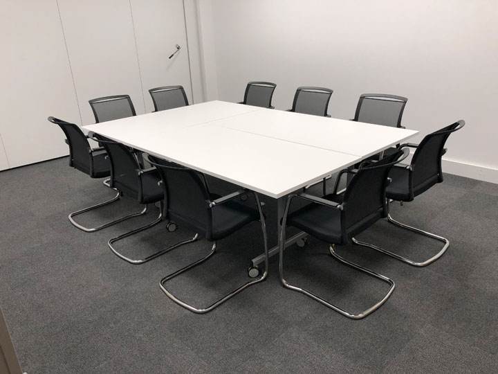 Meeting room table and chairs for call centre