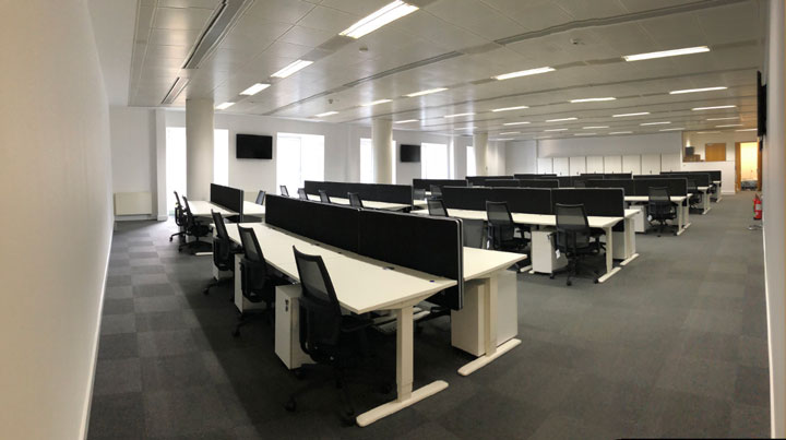 Height adjustable electric desks for call centre