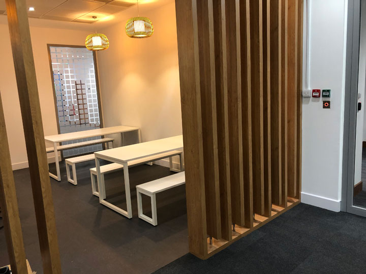 Benches and tables for call centre kitchen